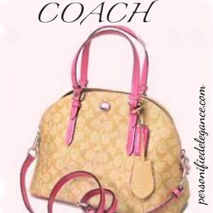 Coach Peyton Signature Cora Domed Tan/Pink Handbag